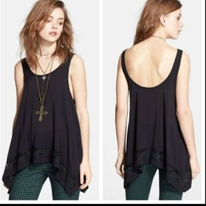 Intimately free people black lace tunic top XS